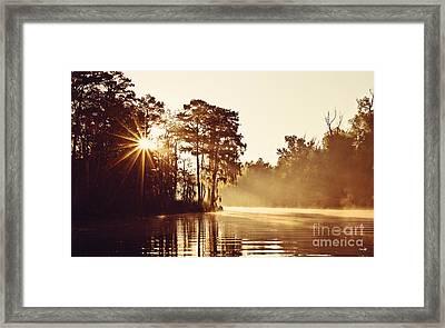 Sunrise On The Bayou Framed Print by Scott Pellegrin