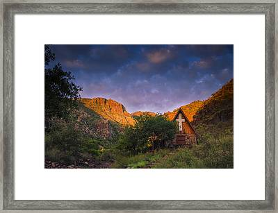 Sunrise On The Chapel Framed Print by Aaron S Bedell