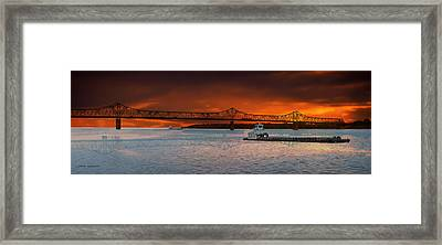 Sunrise On The Illinois River Framed Print by Thomas Woolworth
