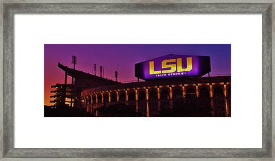 Sunrise On Tiger Stadium Framed Print by Nick Smith