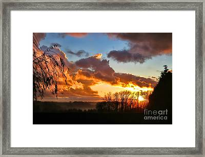 Sunrise Over Countryside Framed Print by Olivier Le Queinec