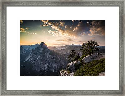 Sunrise Over Half Dome At Glacier Point Framed Print by Mike Lee