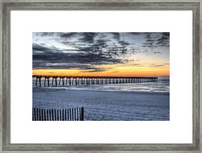 Sunrise Over Pensacola Beach Pier Framed Print by JC Findley