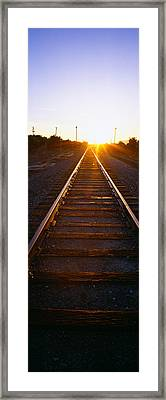 Sunrise Over Railroad Tracks Framed Print by Panoramic Images