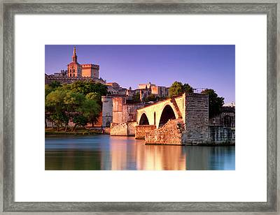 Sunrise Over River Rhone With Pont St Framed Print by Brian Jannsen