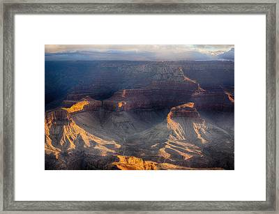Sunrise Over The Canyon Framed Print by Lisa  Spencer
