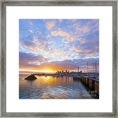 Sunrise Over Westhaven Marina Auckland New Zealand Framed Print by Colin and Linda McKie