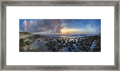 Sunrise Panorama Framed Print by Debra and Dave Vanderlaan