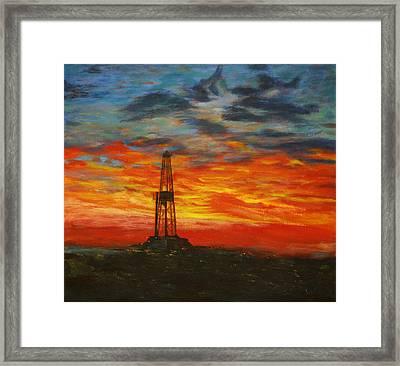 Sunrise Rig Framed Print by Karen  Peterson