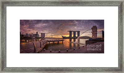 Sunrise Singapore Framed Print by Colin and Linda McKie
