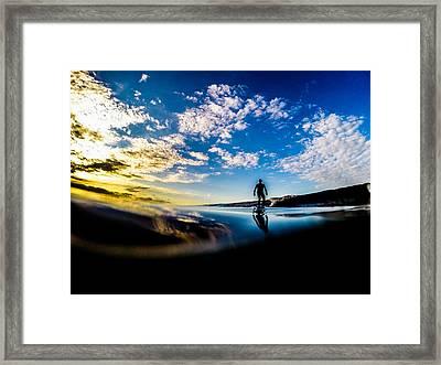 Sunrise Surfer Framed Print by David Alexander