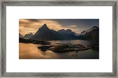 Sunset Above Sakrisoya Village Framed Print by Panoramic Images