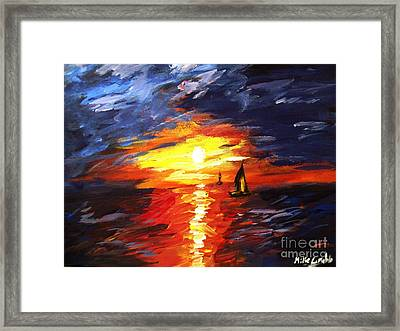 Sunset And Sails Framed Print by Michael Grubb