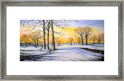 Sunset And Snow Framed Print by Andrew Read