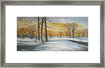 Sunset And Snow Sold Framed Print by Andrew Read