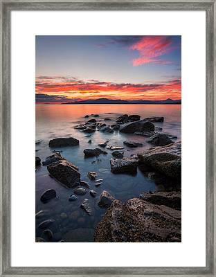 Sunset At Acadia Beach Framed Print by Alexis Birkill