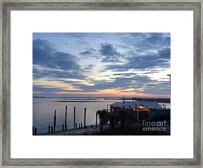 Sunset At American Fish Co       Safe Havens Ivans In Southport Nc Framed Print by Shelia Kempf
