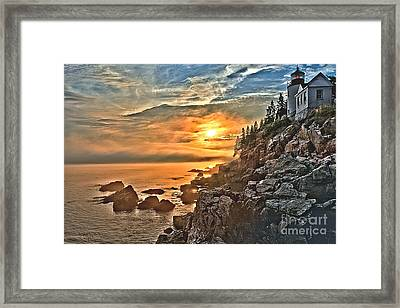 Sunset At Bass Harbor Framed Print by Adam Jewell