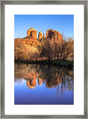 Sunset At Cathedral Rock In Sedona Az Framed Print by Teri Virbickis