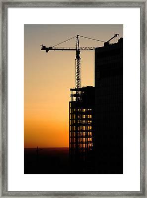 Sunset At Construction Site Framed Print by Artur Bogacki