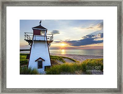Sunset At Covehead Harbour Lighthouse Framed Print by Elena Elisseeva