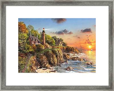 Sunset At Craggy Point Framed Print by MGL Meiklejohn Graphics Licensing