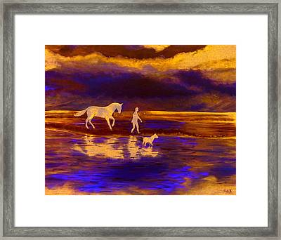 Sunset At Currumbin Framed Print by Debbie Beerling