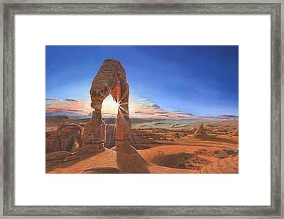 Sunset At Delicate Arch Utah Framed Print by Richard Harpum