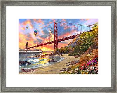 Sunset At Golden Gate Framed Print by Dominic Davison