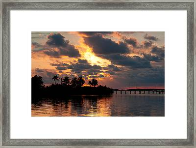Sunset At Mitchells Keys Villas Framed Print by Michelle Wiarda