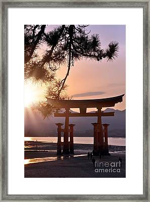 Sunset At Miyajima Framed Print by Delphimages Photo Creations