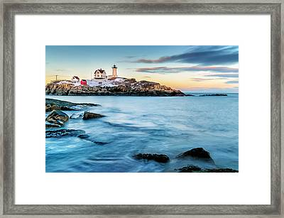 Sunset At Nubble Light-cape Neddick Maine Framed Print by Thomas Schoeller