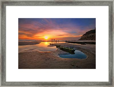 Sunset At Swamis Beach 5 Framed Print by Larry Marshall