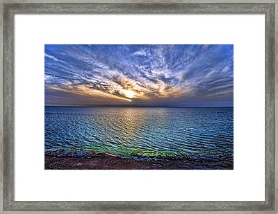 Sunset At The Cliff Beach Framed Print by Ron Shoshani