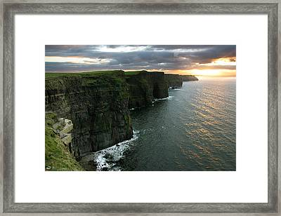 Sunset At The Cliffs Of Moher Ireland Framed Print by Pierre Leclerc Photography