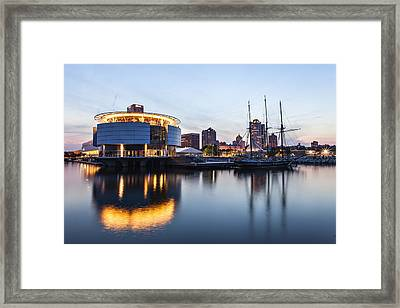Sunset At The Dock Framed Print by CJ Schmit