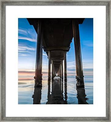 Sunset At The Iconic Scripps Pier Framed Print by Larry Marshall