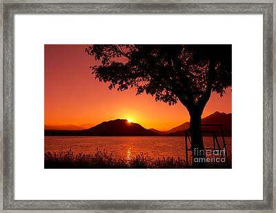 Sunset At The Lake Framed Print by Beverly Claire Kaiya
