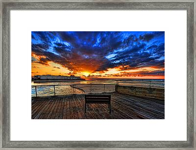 sunset at the port of Tel Aviv Framed Print by Ron Shoshani