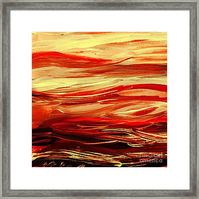 Sunset At The Red River Abstract Framed Print by Irina Sztukowski