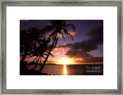 Sunset At Tumon Bay, Guam Framed Print by Bill Bachmann