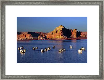 Sunset At Wahweap Marina, Glen Canyon Framed Print by Michel Hersen