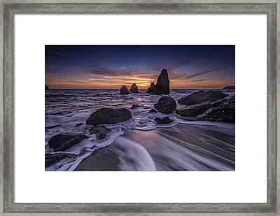 Sunset At Water's Edge Framed Print by Rick Berk