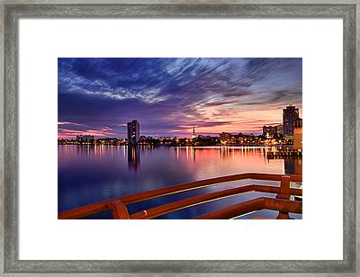 Sunset Balcony Of The West Palm Beach Skyline Framed Print by Debra and Dave Vanderlaan