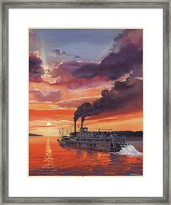 Sunset Bald Eagle Steamboat Framed Print by Don  Langeneckert