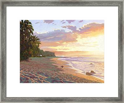 Sunset Beach - Oahu Framed Print by Steve Simon
