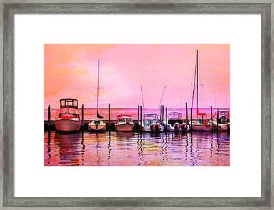 Sunset Boats Framed Print by Laura Fasulo