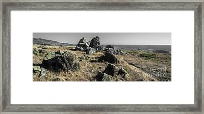 Sunset Boulders   Framed Print by Along The Trail