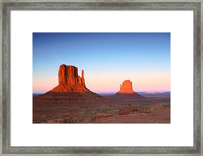 Sunset Buttes In Monument Valley Arizona Framed Print by Katrina Brown
