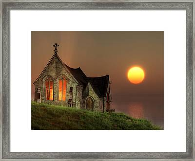 Sunset Chapel By The Sea Framed Print by Christian Art